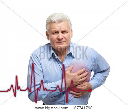 Heart attack concept. Senior man suffering from chest pain on white background
