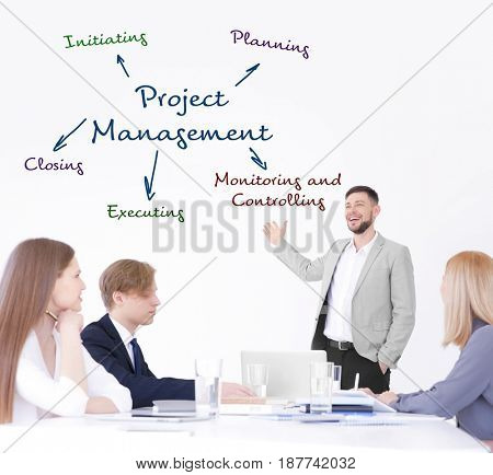 Project management concept. People on business meeting in office