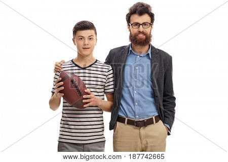 Father and son with a rugby ball isolated on white background