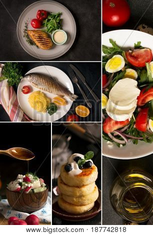 Natural food. Photo collage. Rustic style and black background