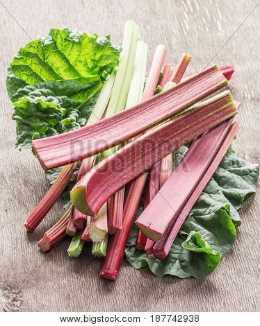 Edible rhubarb stalks on the wooden table.