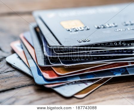 Credit cards. Financial business background.