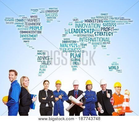 World map with business words behind group of workers and engineers together as team