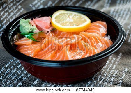japanese food Salmon Sashimi Chirashi Rice Bowl