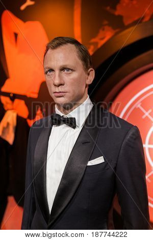 AMSTERDAM, NETHERLANDS - APRIL 25, 2017: Daniel Craig wax statue in Madame Tussauds museum on April 25, 2017 in Amsterdam Netherlands.