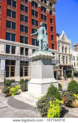 Lexington, KY, USA - 09/14/2016: Statue of John Cabell Breckinridge at Cheapside Park on W Main St in Lexington KY