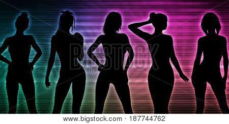 Beach Party Silhouette of Women Standing in Bikinis 3D Illustration Render