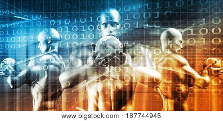 Digital Technology Concept as a Virtual Background 3D Illustration Render