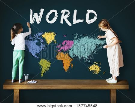 Colorful World Map Geography Concept