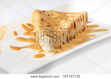 Delicious cheesecake with caramel topping