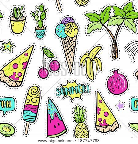 Hand Drawn Fashion Patches Tropical Elements: Avocado, Banana, Watermelon, Tropical Palm, Pizza Seam