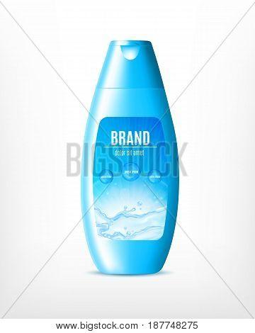 Moisturizing shampoo for hair isolated on white. 3d illustration. Vector icon. EPS10