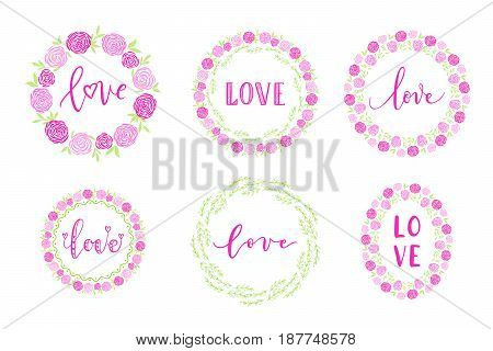 Handdrawn Border, Wreath, Garland Set With Love Text, Flower For Birthday And Wedding Greeting Cards