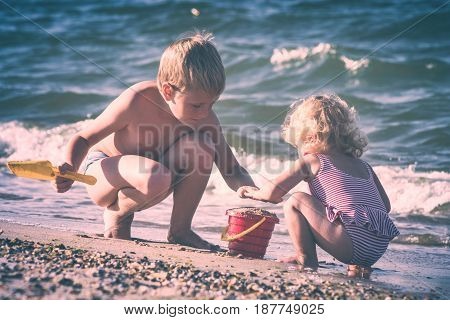 Happy Children On A Sea. Instagram Stylisation