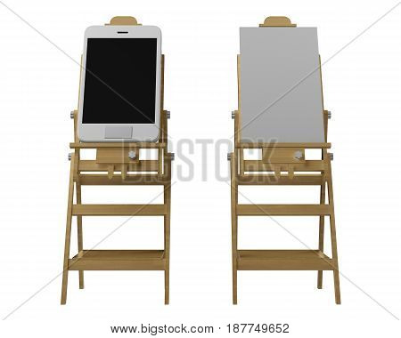 Comparing an easel with a smartphone instead of paper. 3d rendering