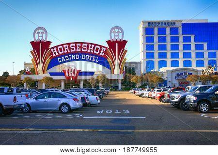 Tunica, MS, USA - 04/02/2016: Outside the  Horseshoe Casino-Hotel in Tunica Mississippi