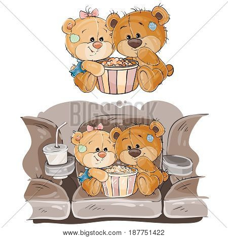 Vector illustration of a couple of brown teddy bears sitting in the cinema hall and watching a movie. Print, template, design element