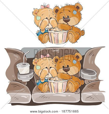 Vector illustration of a couple of brown teddy bears sitting in the cinema hall and watching a movie, horror. Print, template, design element