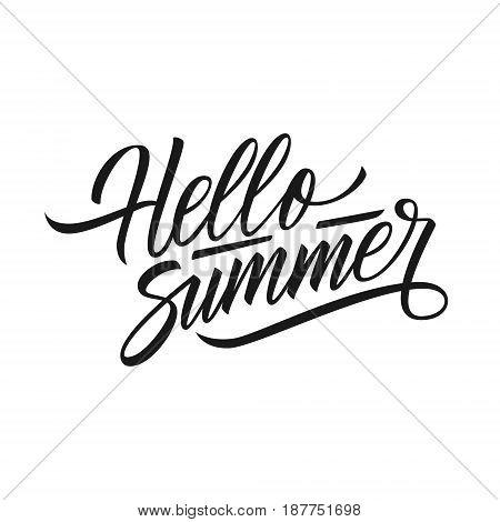 Handwritten phrase Hello Summer. Hand drawn lettering. Calligraphic element for your design. Vector illustration.
