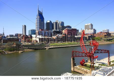 Nashville, TN, USA - 04/05/2015: View of downtown Nashville Tennessee and the Cumberland River