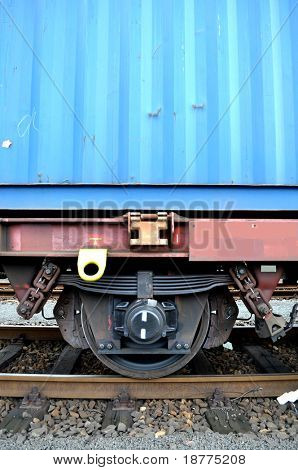 Wheel of a train loaded with a cargo container