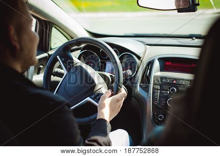 Young Bearded Man Driving A Car, Inside Cabin Rides, Looking At Road, Driving, Holding Steering Whee