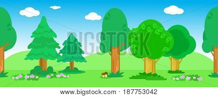 Cartoon wood with trees flowers bushes and mushrooms seamless vector wood landscape