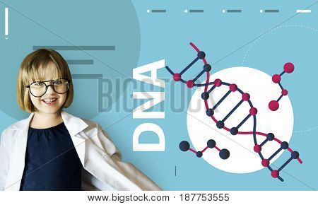 Girl wearing a lab coat dna strand graphic