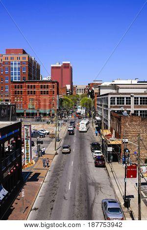 Nashville, TN, USA - 04/05/2015: View overlooking 1st Ave S from the Shelby Street bridge in Nashville TN