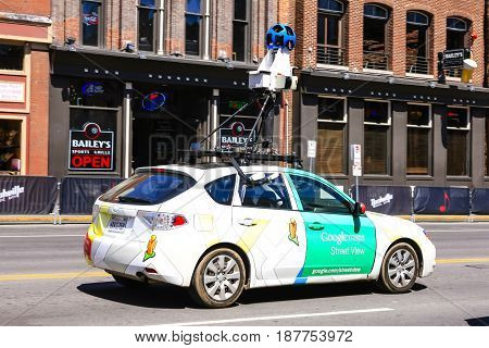 Nashville, TN, USA - 04/05/2015: Google Map vehicle on Broadway in downtown Nashville Tennessee