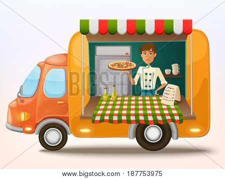 Mobile italian food truck with cooker. Car with Italian food. Vector illustration. Cartoon style.