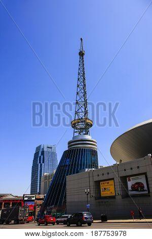 Nashville, TN, USA - 04/05/2015: The Bridgestone Arena radio tower in downtown Nashville Tennessee