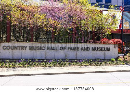 Nashville, TN, USA - 04/05/2015: Wall sign outside the Country Music Hall of Fame and Museum on Demonbreun Street in Nashville TN