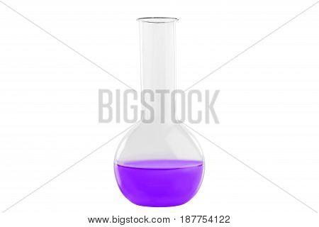Test-tube With Indigo Liquid, Isolated On White Background. Medicine, Chemistry. Horizontal Frame