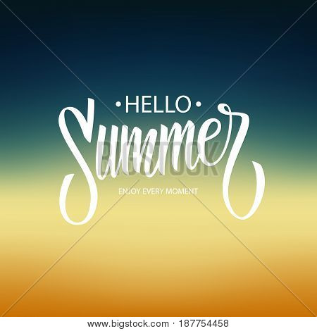 Hello Summer hand lettering isolated on blurred background. Vector illustration.