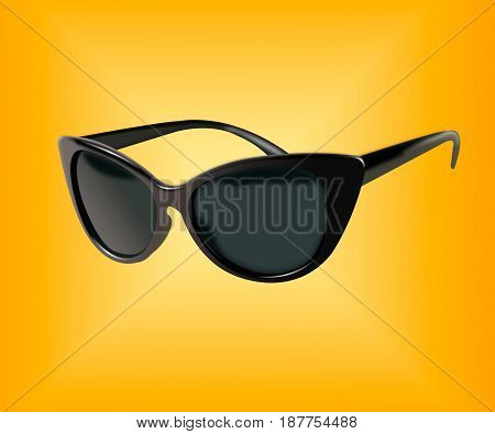 black glasses isolated on yellow background. the icon with black sun glasses