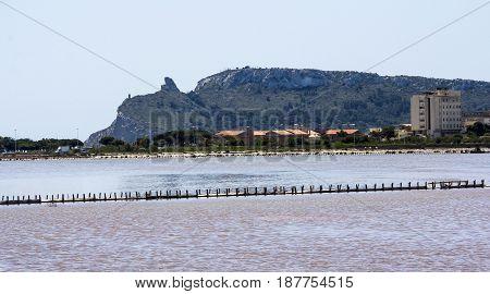 Cagliari: panoramic view of the salt water in the Molentargius Regional Park - Sardinia