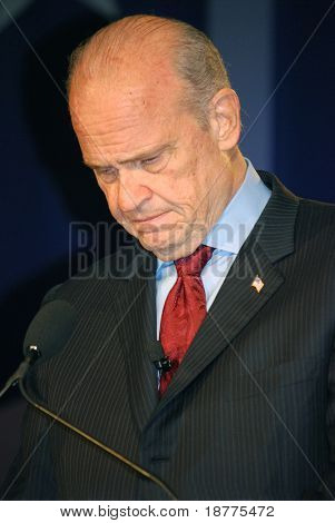 "WASHINGTON DC – OCT 19: Senator Fred Thompson speaking at ""Washington Briefing 2007: Values Voter Summit"" on October 19, 2007, at the Hilton Hotel in downtown Washington DC."