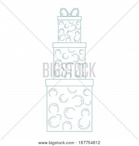 Vector Illustration Of Gift Boxes Decorated Snowflakes On White Background Made In Line Style.