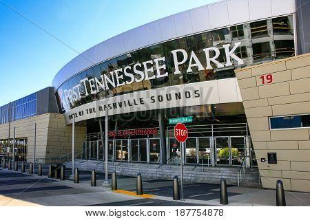 Nashville, TN, USA - 04/09/2015: Entrance to the First Tennessee Park baseball stadium in Nashville