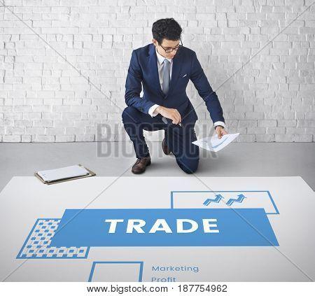 Man working network graphic overlay on floor