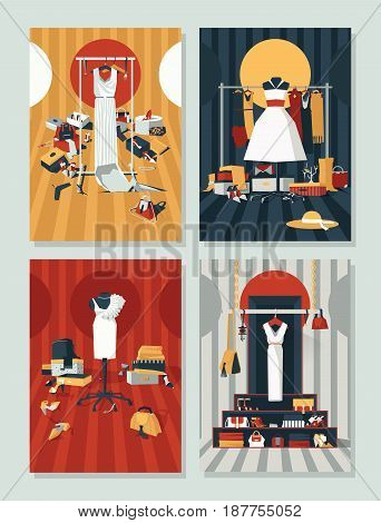 Vector set with different boutique interiors with dresses on hangers. Creative illustration good for clothes shops accessories and bags boutiques evening and casual dresses