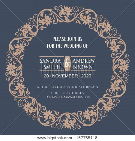 Wedding invitation or announcement card with floral background
