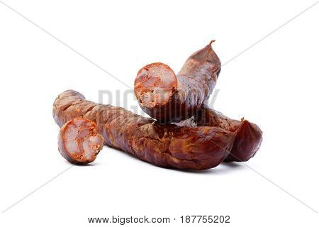 Tasty high quality smoked sausage isolated on white background