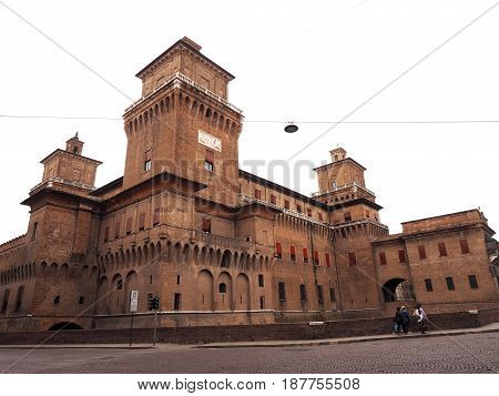 Castle of Ferrara, Italy. Seen from Giovecca Course.
