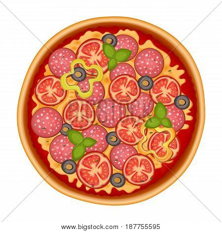 Delicious italian pizza with pepperoni, olive, cheese, tomato, mozzarella and basil. Pizza icon isolated on white. Vector Illustration.