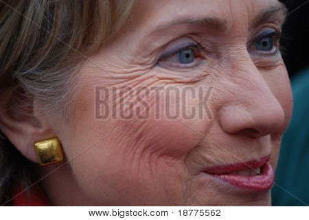 MANCHESTER, NH – JAN 8: Extreme closeup of Senator Hillary Clinton campaigning to become the Democratic party presidential candidate on January 8, 2008, in Manchester, New Hampshire.