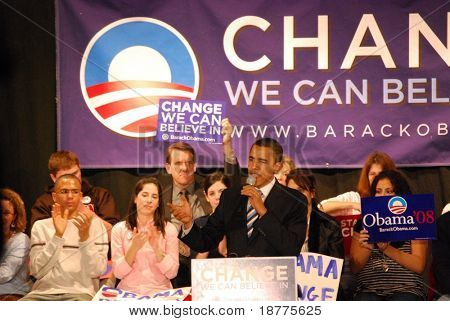 Senator Barack Obama campaigning for president