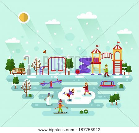 Flat design vector winter nature illustration of kids playground and equipment with swings, slides, tube and carousel. Boy skier, snowflakes, snowman, girls skating. Amusement park for children.