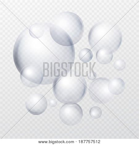 Soap bubbles isolated on transparent background. Vector illustration EPS10